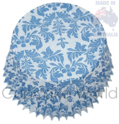 LOVELY BLUE FLORAL DAMASK PAPER MUFFIN CUPCAKE CASES 50PCS